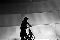Man with bicycle at the Walt Disney Concert Hall