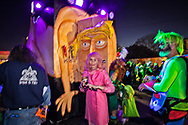 Donald Trump parody float in the Krewe du Vieux, a Mardi Gras Parade in New Orleans know for its raunchy satire with a Trump head that is a beer tap on the back of the float.