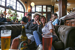 © Licensed to London News Pictures. 29/06/2021. London, UK. Fans gather at The Salisbury Hotel in north London to watch the England v Germany Euro 2020 football match. Photo credit: Dinendra Haria/LNP