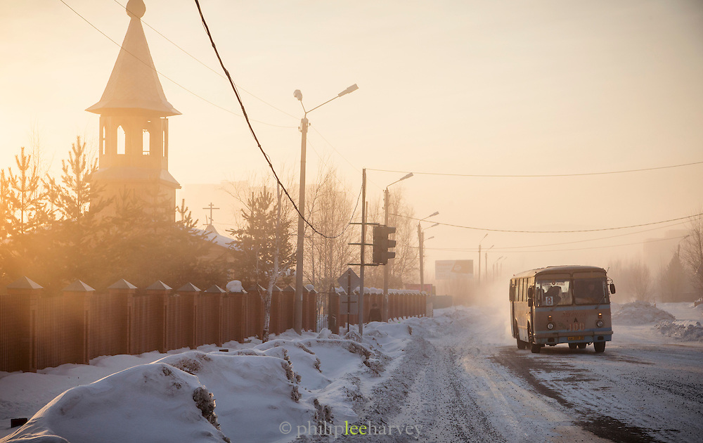 Winter street scene, Tynda, Amur region, Siberia, Russia