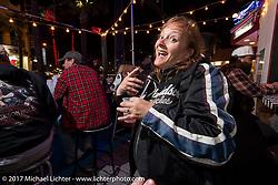 Missi Shoemaker at the Cruisin' Cafe on Main Street during Daytona Beach Bike Week. FL. USA. Sunday March 12, 2017. Photography ©2017 Michael Lichter.