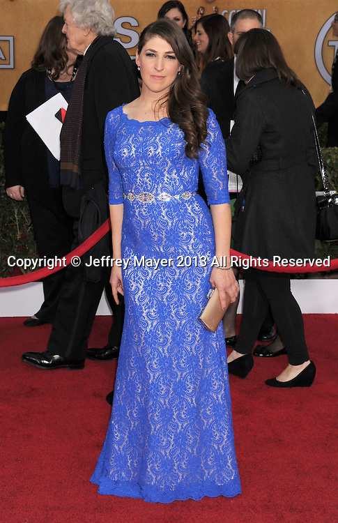LOS ANGELES, CA - JANUARY 27: Mayim Bialik arrives at the 19th Annual Screen Actors Guild Awards at the Shrine Auditorium on January 27, 2013 in Los Angeles, California.