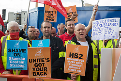 Members of the Unite trade union protest outside the Euston construction site for the HS2 high-speed rail link regarding trade union access to construction workers building tunnel sections for the project on 6th August 2021 in London, United Kingdom. Unite claims that HS2's joint venture contractor SCS, formed by Skanska, Costain and Strabag, has been hindering 'meaningful' trade union access to HS2 construction workers in contravention of the HS2 agreement.