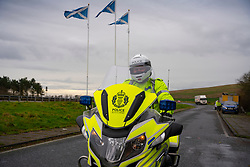 Lamberton, Scotland, UK. 21 December 2020.  Border between Scotland and England on the A1 north of Berwick upon Tweed very quiet  with few motorists, however frequent police patrols are evident. Iain Masterton/Alamy Live News