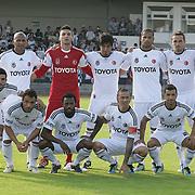 Besiktas's players (Left to Right) (Front Row) Ismail KOYBASI, Ekrem DAG, Manuel FERNANDES, Jose Maria Gutierrez HERNANDEZ (Guti), Simao SABROSA (Left to Right) (Back Row) Mehmet AURELIO, goalkeeper Cenk GONEN, Ibrahim TORAMAN, Tiago Manuel Dias CORREIA (Bebe), Tomas SIVOK, Hugo ALMEIDA during their new season friendly soccer match Besiktas between Ergotelis at Sud Station Koln in Holland on Friday August 05, 2011. Photo by TURKPIX