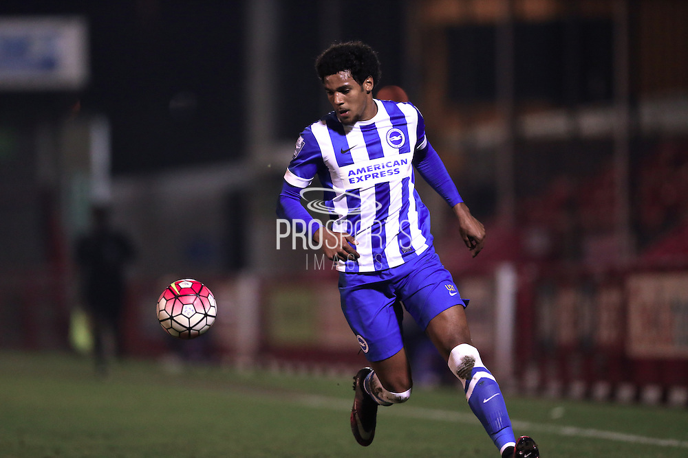 U21 Brighton and Hove Albion's Jonah Ayunga during the Barclays U21 Premier League match between U21 Brighton and Hove Albion and U21 Newcastle United at the Checkatrade.com Stadium, Crawley, England on 23 March 2016.