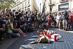 August 18, 2017 - unknown - Barcelona, Spain, August 18, 2017 : atmospheric view of the Rambla of Barcelona in shock at the place where the terrorist white van running over tourist pedestrians walking down the Rambla stopped on August 17, 2017 around 05:00pm. Photo credit : Marc Javierre-Kohan / Aurimages (Credit Image: © Marc Javierre Kohan/Aurimages via ZUMA Press)