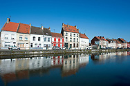 View across the canalised section of the River Aa, Saint-Omer, Pas-de-Calais, France © Rudolf Abraham