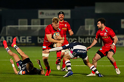 Jackson Wray of Saracens is tackled by Callum Sirker of Coventry Rugby (dual-registered with Wasps)  - Mandatory by-line: Nick Browning/JMP - 26/02/2021 - RUGBY - Butts Park Arena - Coventry, England - Coventry Rugby v Saracens - Friendly