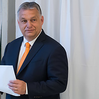 Hungarian Prime Minister Viktor Orban casts his vote during the European Parliamentary election in Budapest, Hungary on May 26, 2019. ATTILA VOLGYI