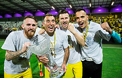 Zan Majer, Ivan Firer, Rok Elsner and Dejan MIlic of NK Domzale celebrate after winning during football match between NK Domzale and NK Olimpija Ljubljana in Final of Slovenian Cup 2017, on May 31, 2017 in Stadium Bonifika, Koper / Capodistria, Slovenia. Photo by Vid Ponikvar / Sportida