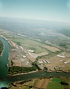 """ackroyd C09840-1. """"Port of Portland. aerials. Rivergate. September 8, 2001"""" (Kelly Point, confluence of the Willamette & Columbia rivers. 4x5"""")"""