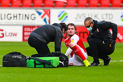 Kieran Sadlier of Rotherham United is checked on by Rotherham United medical staff - Mandatory by-line: Ryan Crockett/JMP - 07/11/2020 - FOOTBALL - Aesseal New York Stadium - Rotherham, England - Rotherham United v Preston North End - Sky Bet Championship
