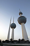 The Kuwait Towers, observation deck, restaurant and water towers on the waterfront of Kuwait City along the Persian Gulf of the Arabian Sea.