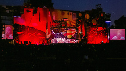 The Grateful Dead at Foxboro Stadium 2 July 1989. 25th Anniversary Tour. The Full Set Design by Candace Brightman, GD Lighting Designer. Set Created and Painted by Jan Sawka.
