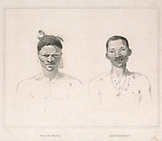 Boosh-wana [Tswana] (left) Hottentot (right) from the book Sketches representing the native tribes, animals, and scenery of southern Africa : from drawings made by the late Mr. Samuel Daniell. by Daniell, Samuel, 1775-1811; Daniell, William, 1769-1837; Barrow, John, Sir, 1764-1848; Somerville, William, 1771-1860; Printed by Richard and Arthur Taylor : Published by William Daniell, and William Wood, London, 1820