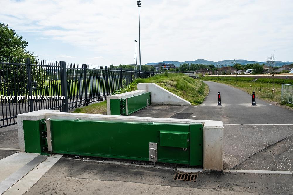 New flood prevention scheme beside Water of Leith at Murrayfield in Edinburgh, Scotland, United Kingdom, UK