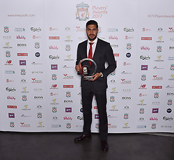 LIVERPOOL, ENGLAND - Tuesday, May 9, 2017: Liverpool's Emre Can wins the Goal of the Season 2017 Award sponsored by Speed Medical at the Liverpool FC Players' Awards 2017 at Anfield. (Pic by Andrew Powell/Liverpool FC/Pool/Propaganda)