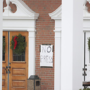 A 'No Press' sign outside the St. Rose of Lima Church in Sandy Hook after the mass shootings at Sandy Hook Elementary School, Newtown, Connecticut, USA. 16th December 2012. Photo Tim Clayton