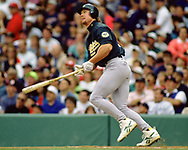 BOSTON - 1995:  Mark McGwire of the Oakland Athletics bats during an MLB game versus the Boston Red Sox at Fenway Park in Boston, Massachusetts  during the 1995 season. (Photo by Ron Vesely) Subject:   Mark McGwire