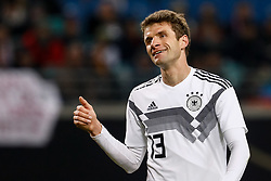 November 16, 2018 - Leipzig, Germany - Thomas Muller of Germany gestures during the international friendly match between Germany and Russia on November 15, 2018 at Red Bull Arena in Leipzig, Germany. (Credit Image: © Mike Kireev/NurPhoto via ZUMA Press)