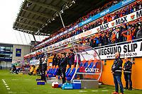 1. divisjon fotball 2018: Aalesund - Mjøndalen. Hymnen synges før førstedivisjonskampen i fotball mellom Aalesund og Mjøndalen på Color Line Stadion.