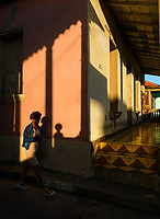 BARACOA, CUBA - CIRCA JANUARY 2020: Cuban woman walking on the streets of Baracoa