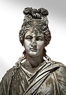 Roman statue of a woman. Marble. Perge. 2nd century AD. Inv no 2015/186. Antalya Archaeology Museum; Turkey. Against a white background. .<br /> <br /> If you prefer to buy from our ALAMY STOCK LIBRARY page at https://www.alamy.com/portfolio/paul-williams-funkystock/greco-roman-sculptures.html . Type -    Antalya     - into LOWER SEARCH WITHIN GALLERY box - Refine search by adding a subject, place, background colour, museum etc.<br /> <br /> Visit our ROMAN WORLD PHOTO COLLECTIONS for more photos to download or buy as wall art prints https://funkystock.photoshelter.com/gallery-collection/The-Romans-Art-Artefacts-Antiquities-Historic-Sites-Pictures-Images/C0000r2uLJJo9_s0