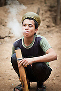 Smoking a Pipe in Ban Don Northern Laos South East Asia