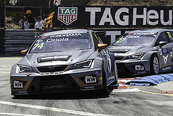 June 23, 2018 - Vila Real, Vila Real, Portugal - Pepe Oriola from Spain in Cupra TCR of Team OSCARO by Campos Racing (L) and John Filippi from Italy in Cupra TCR of Team OSCARO by Campos Racing (R) in action during the Race 1 of FIA WTCR 2018 World Touring Car Cup Race of Portugal, Vila Real, June 23, 2018. (Credit Image: © Dpi/NurPhoto via ZUMA Press)