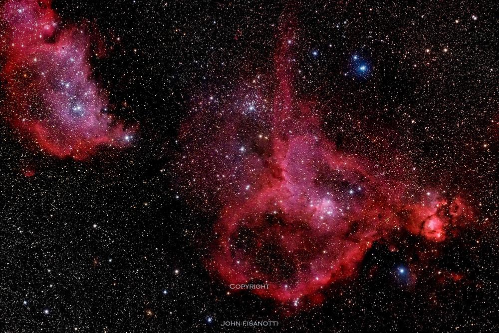 IC 1805 (the Heart Nebula) and IC 1848 (the Soul Nebula) in Cassiopeia