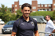 AFC Wimbledon defender Will Nightingale (5) arriving during the EFL Sky Bet League 1 match between AFC Wimbledon and Coventry City at the Cherry Red Records Stadium, Kingston, England on 11 August 2018.