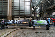 Campaigners for global climate justice handed in letters to the offices of Liberty Mutual, Barclays, Lloyds of London and Blackrock on Friday, Sept 2, 2020. This is part of protests supporting the Stop the Money Pipeline, a coalition of over 100 worldwide organisations working to end the financing of climate destruction. (VXP Photo/ Vudi Xhymshiti)