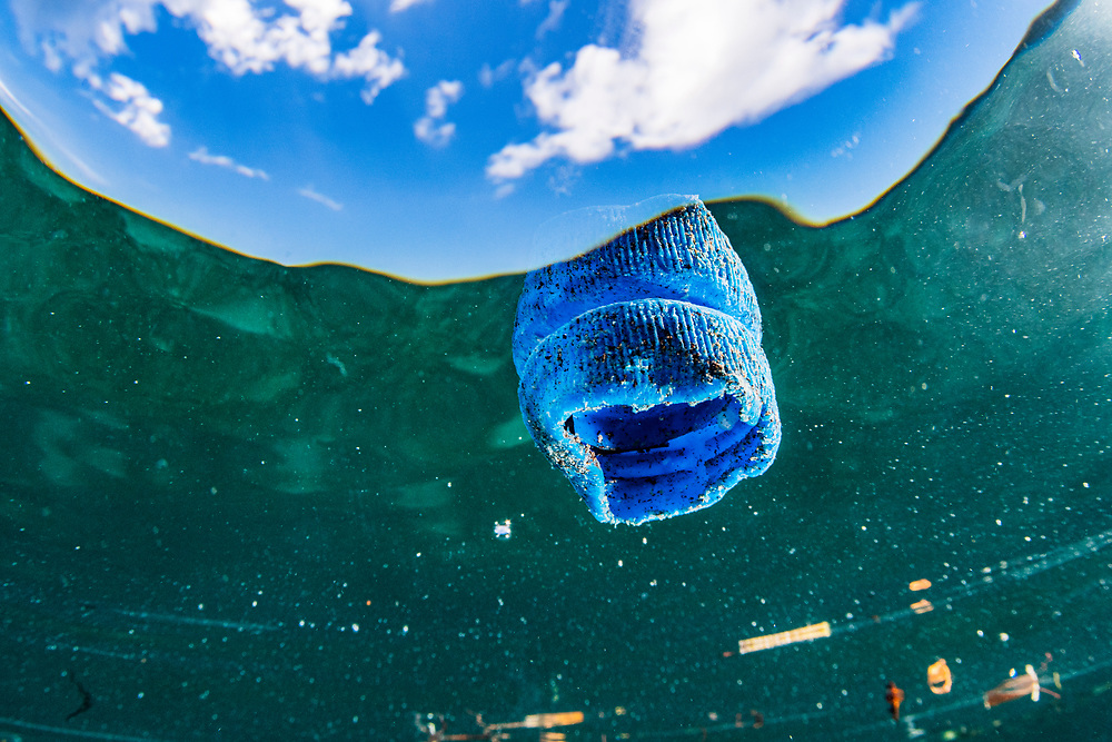 A plastic bottle cap floating at the surface in the ocean off The Bahamas.