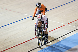 March 1, 2018 - Apeldoorn, Netherlands - Germany's Pauline Kristina Vogel and Netherland's Laurine van Riessen  compete Women's sprint Quarterfinals during UCI Track Cycling World Championships Apeldoorn 2018  in Apeldoorn, the Netherlands on 1st March 2018. The track cycling worlds take place from 28 February to 04 March. (Credit Image: © Foto Olimpik/NurPhoto via ZUMA Press)