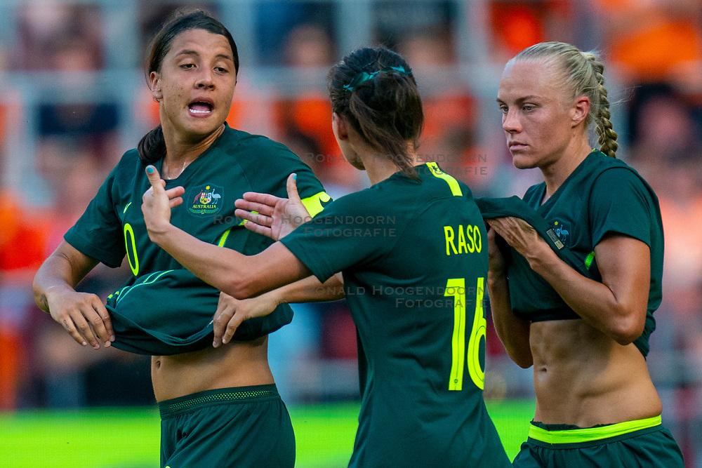 01-06-2019 NED: Netherlands - Australia, Eindhoven<br /> <br /> Friendly match in Philips stadion Eindhoven. Netherlands win 3-0 / Sam Kerr #20 of Australia, Hayley Raso #16 of Australia, Tameka Yallop #13 of Australia