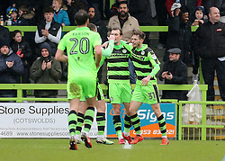 Forest Green Rovers Alex Bray (31) celebrates scoring his sides first goal of the game on his debut