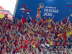 June 23, 2018 - Moscow, Russia - Group G Belgium v Tunisia  - FIFA World Cup Russia 2018 ..Belgium supporters celebrate at Spartak Stadium in Moscow, Russia on June 23, 2018. (Credit Image: © Matteo Ciambelli/NurPhoto via ZUMA Press)