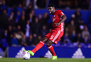Bruno Ecuele Manga of Cardiff City in action .EFL Skybet championship match, Birmingham city v Cardiff city at St.Andrew's stadium in Birmingham, the Midlands on Friday 13th October 2017.<br /> pic by Bradley Collyer, Andrew Orchard sports photography.