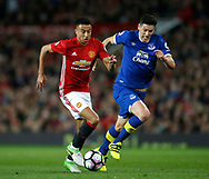 Jesse Lingard of Manchester United in action with Gareth Barry of Everton during the English Premier League match at Old Trafford Stadium, Manchester. Picture date: April 4th 2017. Pic credit should read: Simon Bellis/Sportimage
