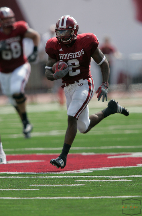 27 September 2008: Indiana running back Marcus Thigpen (2) as the Indiana Hoosiers played the Michigan State Spartans in a college football game in Bloomington, Ind....