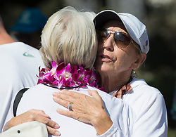 October 13, 2016 - Dana Point, California, USA - Sara Nealy, wife of Robert Nealy, hugs long-time friend Martha Glasgow before the start of his memorial service at Dohney State Beach in Dana Point, California, October 13, 2016...Friends and family gathered for a memorial for Nearly who is credited with inventing the Velco surf leach in 1973...Nealy lost a long battle with lymphoma on September 1, 2016...(Photo by Jeff Gritchen, Orange County Register/SCNG) (Credit Image: © Jeff Gritchen/The Orange County Register via ZUMA Wire)