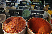 Israel, Jaffa, bags of Herbs and spices in a street market