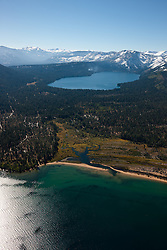 """""""Lake Tahoe and Fallen Leaf Lake 1"""" - Photograph of Lake Tahoe in the foreground and Fallen Leaf Lake can be seen in the background."""