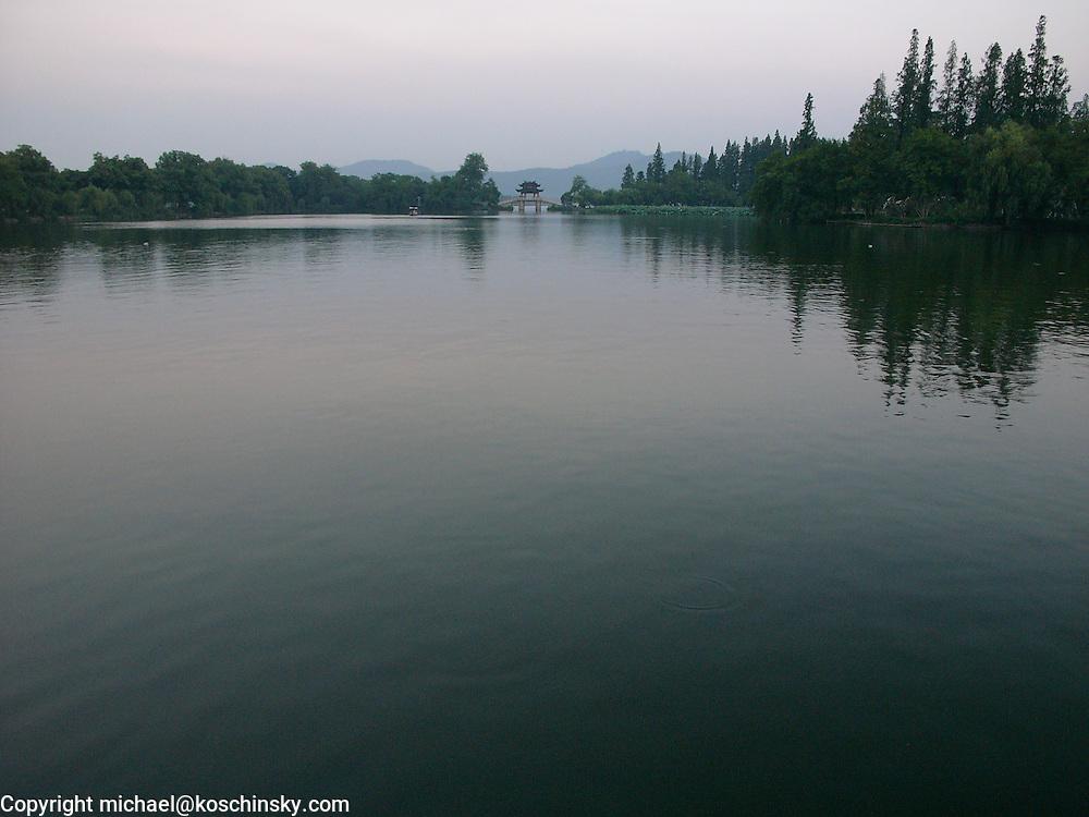 China, Hangzhou, West Lake, Su Causeway, Water, Bridge, Wide Angle