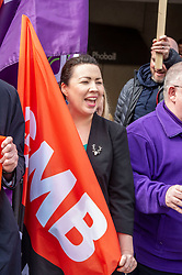 """Pictured: Monica Lennon<br /><br />Scottish Labour leader Richard  Leonard and health spokeswoman Monica Lennon joined NHS workers to lobby Parliament to pay Hairmyres hospital staff """"what they are due"""". Ger Harley 