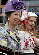 © Licensed to London News Pictures. 21/06/2012. Ascot, UK The Princess Royal (L)  attends Ladies Day with Princess Beatrice at Royal Ascot 21st June 2012. Royal Ascot has established itself as a national institution and the centrepiece of the British social calendar as well as being a stage for the best racehorses in the world.. Photo credit : Stephen Simpson/LNP