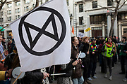 Extinction Rebellion protest against use of fossil fuels in particular coal, and the ongoing wild fires, which have been raging for four months now, outside Australia House, the Australian Embassy in the UK on 10th January 2020 in London, England, United Kingdom. Extinction Rebellion is a climate change group started in 2018 and has gained a huge following of people committed to peaceful protests. These protests are highlighting that the government is not doing enough to avoid catastrophic climate change and to demand the government take radical action to save the planet.