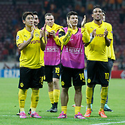 Borussia Dortmund's players celebrate victory during their UEFA Champions League Group Stage Group D soccer match Galatasaray between Borussia Dortmund at the Ali Sami Yen Spor Kompleksi in Istanbul, Turkey on Wednesday 22 October 2014. Photo by Aykut AKICI/TURKPIX