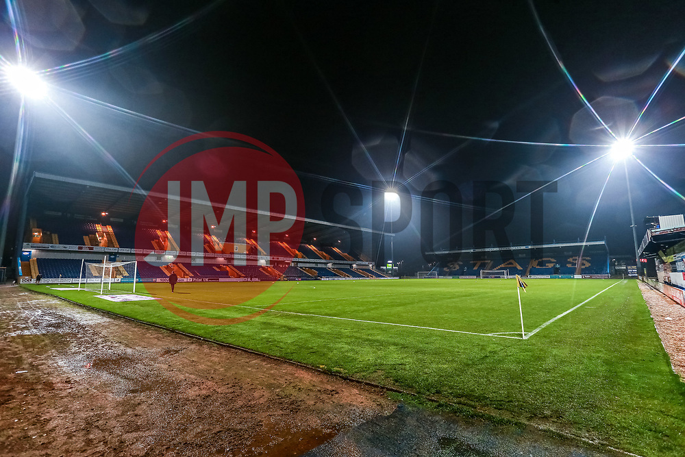 A general view of the One Call Stadium, home to Mansfield Town - Mandatory by-line: Ryan Crockett/JMP - 20/11/2020 - FOOTBALL - One Call Stadium - Mansfield, England - Mansfield Town v Colchester United - Sky Bet League Two